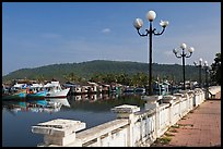 Quays of Duong Dong River, Duong Dong. Phu Quoc Island, Vietnam (color)