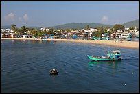 Basket boat, fishing boat, and beach, Duong Dong. Phu Quoc Island, Vietnam ( color)