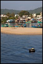 Basket boat, beach and harbor, Duong Dong. Phu Quoc Island, Vietnam ( color)