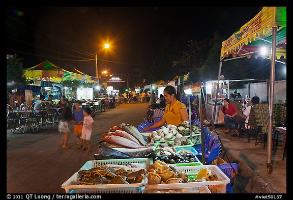 Seafood stall, night market. Phu Quoc Island, Vietnam (color)