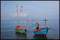 Fisherman on skiff. Phu Quoc Island, Vietnam
