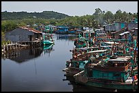 River lined up with fishing boats. Phu Quoc Island, Vietnam ( color)