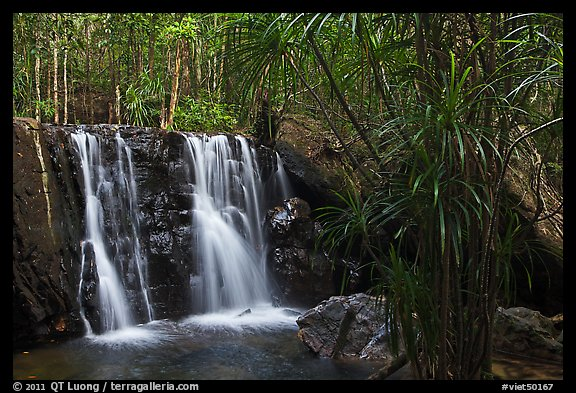 Waterfall flowing in tropical forest. Phu Quoc Island, Vietnam (color)
