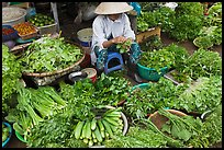 Woman selling vegetables at public market, Duong Dong. Phu Quoc Island, Vietnam (color)