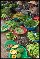 Women selling fruit and vegetables at market, Duong Dong. Phu Quoc Island, Vietnam (color)