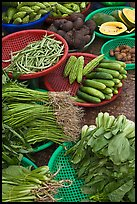 Close-up of vegetable in baskets, Duong Dong. Phu Quoc Island, Vietnam (color)
