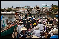 Crowd crossing the mobile bridge, Duong Dong. Phu Quoc Island, Vietnam (color)