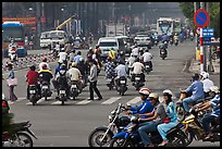 Motorcyle traffic on large avenue. Ho Chi Minh City, Vietnam ( color)