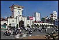 Eastern Gate, Ben Thanh Market, morning. Ho Chi Minh City, Vietnam (color)