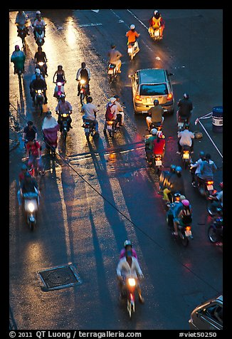 Intersection at night seen from above. Ho Chi Minh City, Vietnam (color)