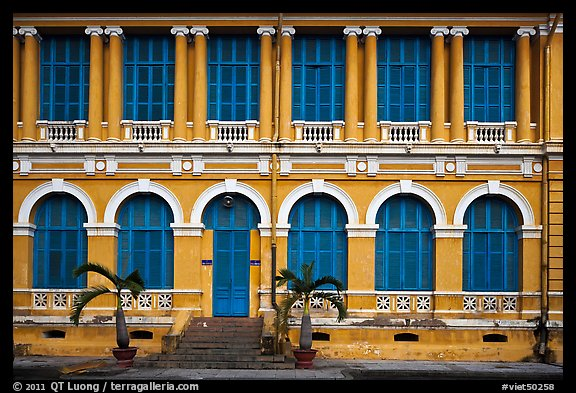 Facade of courthouse with blue doors and windows. Ho Chi Minh City, Vietnam (color)