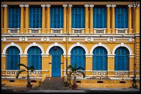 Facade of courthouse with blue doors and windows. Ho Chi Minh City, Vietnam