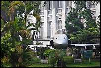 Fighter plane used by renegate South Vietnamese pilot to bomb Presidential Palace. Ho Chi Minh City, Vietnam (color)