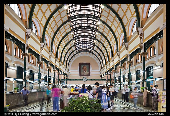 Interior of Central Post Office. Ho Chi Minh City, Vietnam (color)