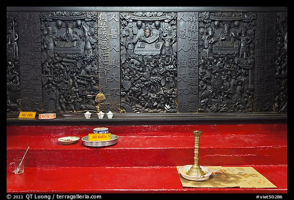Carved wooden panels Hall of the Ten Hells, Jade Emperor Pagoda, district 3. Ho Chi Minh City, Vietnam (color)