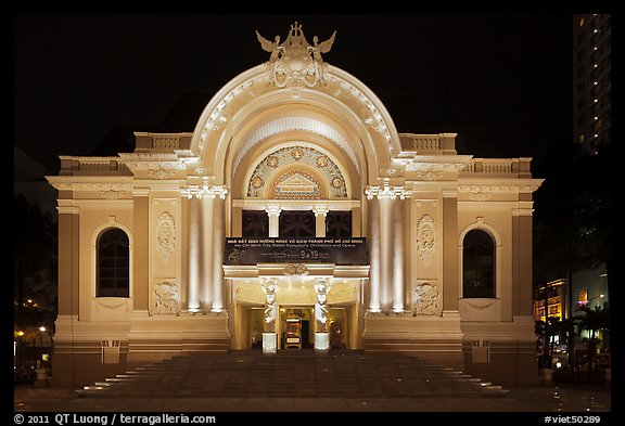 Opera House (Nha Hat Thanh Pho) at night. Ho Chi Minh City, Vietnam (color)