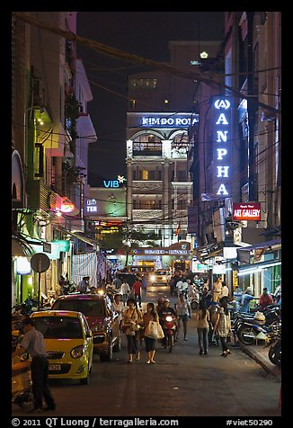 Shopping streetat night. Ho Chi Minh City, Vietnam (color)