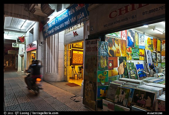 Art galleries at night. Ho Chi Minh City, Vietnam (color)
