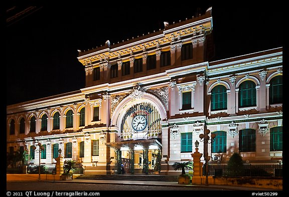 Central Post Office facade at night. Ho Chi Minh City, Vietnam (color)