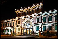 Central Post Office facade at night. Ho Chi Minh City, Vietnam ( color)
