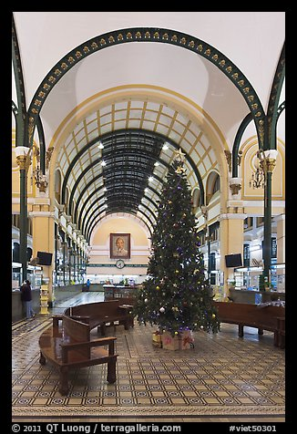 Christmas tree in Central Post Office. Ho Chi Minh City, Vietnam
