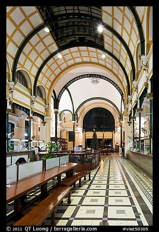 Inside of Central Post office designed by Gustave Eiffel. Ho Chi Minh City, Vietnam (color)