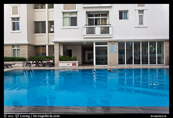Swimming pool in appartnment complex, Phu My Hung, district 7. Ho Chi Minh City, Vietnam (color)