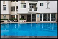 Swimming pool in appartnment complex, Phu My Hung, district 7. Ho Chi Minh City, Vietnam ( color)