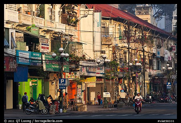 Facades of colonial-area townhouses. Ho Chi Minh City, Vietnam (color)