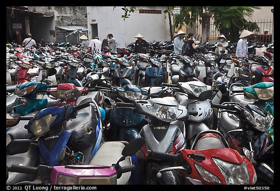 Motorcycle parking area. Ho Chi Minh City, Vietnam (color)