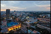 Elevated city view at dusk from Sheraton. Ho Chi Minh City, Vietnam (color)