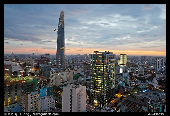 Bitexco Tower and downtown high rises at sunset. Ho Chi Minh City, Vietnam (color)