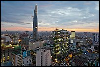 Bitexco Tower and downtown high rises at sunset. Ho Chi Minh City, Vietnam ( color)
