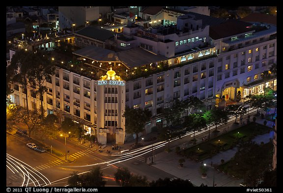 Rex Hotel seen from above, dusk. Ho Chi Minh City, Vietnam (color)