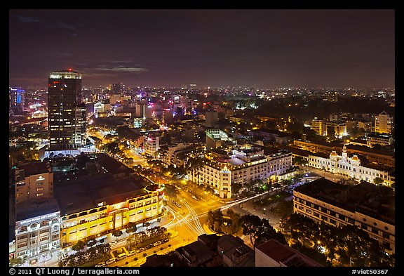Saigon center at night from above. Ho Chi Minh City, Vietnam (color)