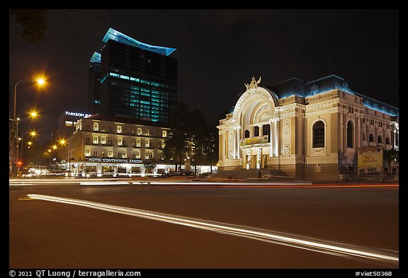 Opera House and Hotel Continental at night. Ho Chi Minh City, Vietnam