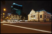 Opera House and Hotel Continental at night. Ho Chi Minh City, Vietnam (color)