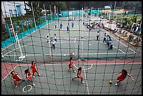 Stadium with girls team athetics, Cong Vien Van Hoa Park. Ho Chi Minh City, Vietnam (color)