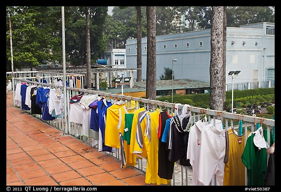 Sports jerseys being dried, Cong Vien Van Hoa Park. Ho Chi Minh City, Vietnam (color)