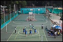 Girls Volleyball players and coaches, Cong Vien Van Hoa Park. Ho Chi Minh City, Vietnam ( color)