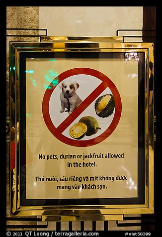 Hotel sign prohibiting smelly tropical fruits. Ho Chi Minh City, Vietnam (color)