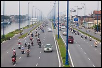 Busy expressway on banks of Saigon Arroyau. Cholon, Ho Chi Minh City, Vietnam ( color)
