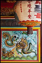 Lantern and ceramic dragon, Ha Chuong Hoi Quan Pagoda. Cholon, District 5, Ho Chi Minh City, Vietnam (color)