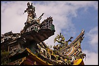 Ceramic figures on roof, Quan Am Pagoda. Cholon, District 5, Ho Chi Minh City, Vietnam (color)