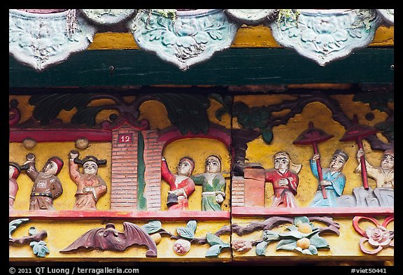 Ceramic scenes from traditional Chinese stories, Quan Am Pagoda. Cholon, District 5, Ho Chi Minh City, Vietnam (color)