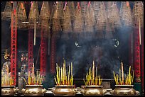 Urns, incense coils, and incense smoke, Thien Hau Pagoda. Cholon, District 5, Ho Chi Minh City, Vietnam (color)