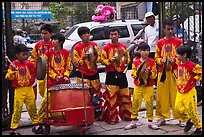 Dragon dance drummers, Thien Hau Pagoda. Cholon, District 5, Ho Chi Minh City, Vietnam (color)