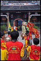 Drumners and dragon dancers in front of Thien Hau Pagoda. Cholon, District 5, Ho Chi Minh City, Vietnam ( color)