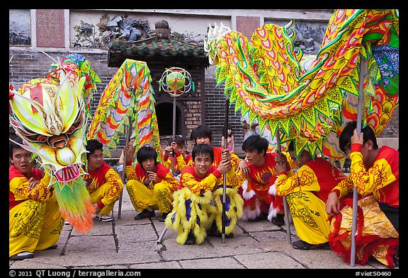 Dragon dancers at rest, Thien Hau Pagoda. Cholon, District 5, Ho Chi Minh City, Vietnam (color)