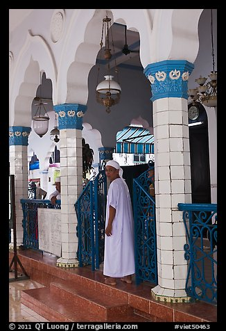 Muslim man in worship attire, Cholon Mosque. Cholon, District 5, Ho Chi Minh City, Vietnam